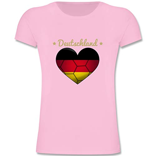 Handball WM 2019 Kinder - Handballherz Deutschland - 140 (9-11 Jahre) - Rosa - F131K - Mädchen Kinder T-Shirt