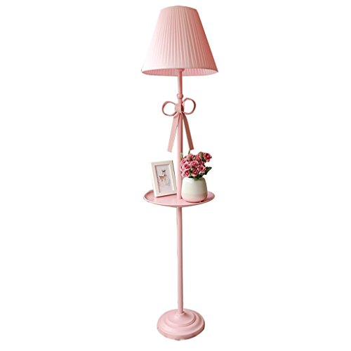 Lampe de plancher Nordic Princess chaud romantique fille verticale lampadaire chambre enfants chambre creative salon rose ombre A+
