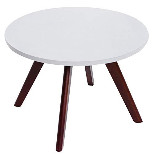 Décoshop26 Table Basse Table d'appoint Ronde 4 Pieds en Bois foncé Hauteur 45cm TABA10004