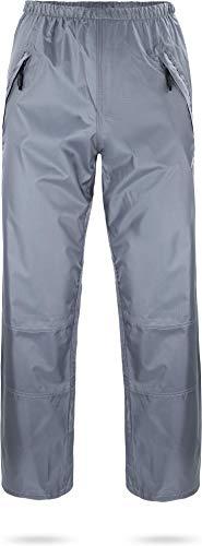 normani Outdoor Sports wasserdichte Regenhose 6000 mm mit Reißverschluss-Seitentaschen für Wandern, Angeln, Gassi gehen oder Fahrrad Fahren - Unisex für Damen und Herren Farbe Grau Größe XL