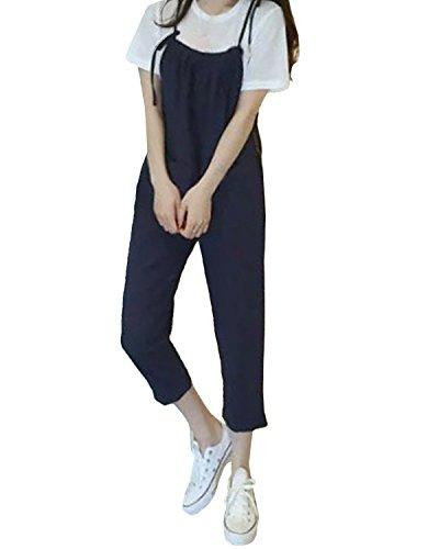 StyleDome Damen Ärmellose Lange Strappy Taschen Overall Hose Denim Pants Jumpsuits Blau677162 36