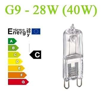 g9 halogen 230v sparlampe 28w entspricht 40 watt gl hbirne energieeffizienzklasse c. Black Bedroom Furniture Sets. Home Design Ideas