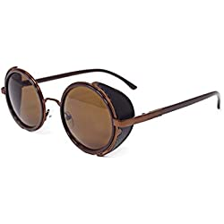 Gafas de sol ultra Steampunk marrón con las lentes marrones de los años 50 gafas redondas con protección UV400 en oro plata marrón y té Cyber cobre gafas Rave Goth Vintage