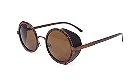 Ultra Steampunk Sunglasses Brown with Brown Lenses 50s Round Glasses with UV400 Protection Available in Gold Silver Brown and Tea Copper Cyber Goggles Rave Goth Vintage