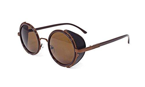 Ultra noir cadre avec lentilles noires steampunk lunettes de soleil 50 verres ronds avec UV400 protection thé cuivre Cyber lunettes rave goth Vintage 4G6sY5yFS