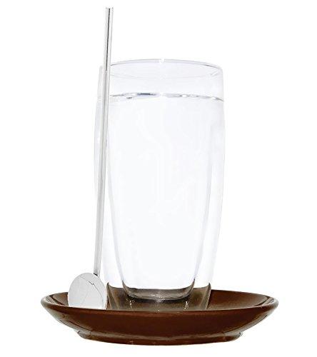 """Doppelwandiges Latte Macchiato-Glas """"Sphere"""" inkl. Untersetzer braun & Trinkhalmlöffel"""