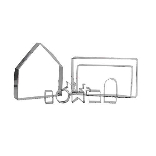 Preisvergleich Produktbild Windy5 10Pcs / Set 3D-Lebkuchen-Haus-Ausstechformen Edelstahl Weihnachten Keks Fondantform