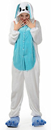 Ghope Animal style kigurumi Lapin Pyjama Adulte Anime pyjamas tenue Onesie Cospaly Fête Flannels Costume Animaux Anime Halloween (De Adulte Lapin Kostüm)