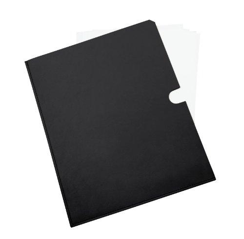 Lucrin - Pochette pelle per documenti A5 - Vacchetta liscia - Pelle - Nero