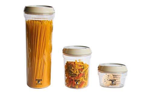 3Stück luftdicht Container Set mit Flip Lock luftdicht Griff-BPA-Frei-von Moos & Stone -