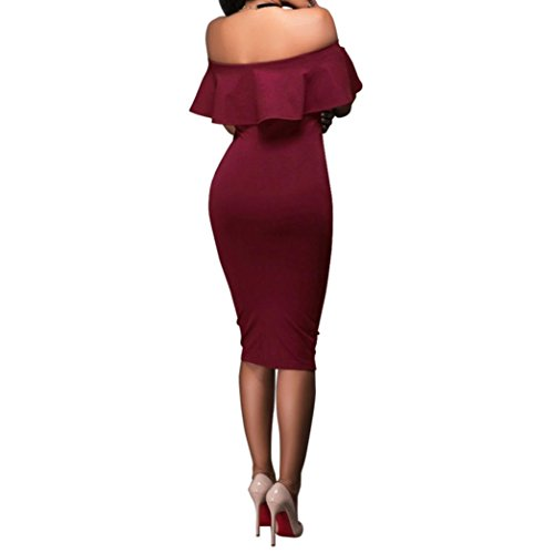 Lange Kleid Damen, Mode Frauen Schulterfrei Kurzarm Bodycon Abendkleid Hochzeit Outdoor Kleid Sunday (Weinrot, S)