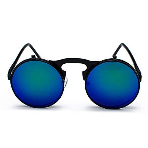 K-Flame Vintage-Sonnenbrille Steampunk-Stil Unisex polarisierte UV400 Brille Runde Flip Up Double Lens Metallrahmen Gläser für Outdoor-Reisen,BlackOrchid,128mm