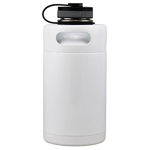 Vakuum Isoliert Mini Keg Growler 64oz gloss white (Beer Growler 64)