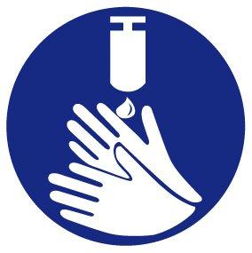 Gebotsschild aus Folie - Hände desinfizieren - Ø 10 cm