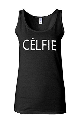 Celfie Selfie Funny Novelty White Femme Women Tricot de Corps Tank Top Vest *Noir