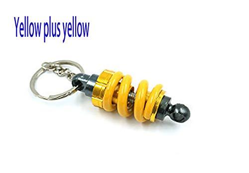 HANDHABUNG Motorrad Dekoration Stoßdämpfer Anhänger Schlüsselanhänger Schlüsselanhänger (Color : Gelb)