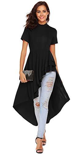 Damen Kurzarm Asymmetrisch T-Shirt Sommer Shirt Tunika Elegantes Schwarz S (T-shirt-kleid Asymmetrisches)