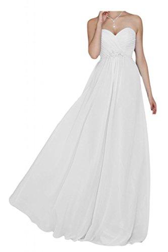 Toscana sposa dall'effetto a forma di cuore per una serata vestimento Chiffon damigella Party Ball Bete vestimento Bianco