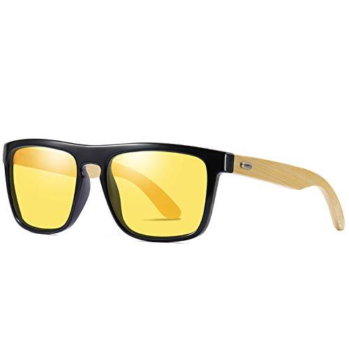 Fourthomme Herren Classic Bamboo Wood Polarisierte Sonnenbrille Square Polarisierte Sonnenbrille Paar Sonnenbrille Fahrer Sonnenbrille Weihnachtsgeschenk (Stil 2)