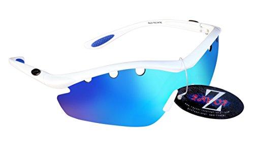 RayZor Professional leichte UV400Weiß Sport Wrap Wandern Sonnenbrille, mit einem 1Stück belüftet Blau Iridium verspiegelt Blendfreie Objektiv