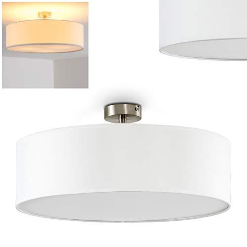 Deckenleuchte Foggia, runde Deckenlampe mit Lampenschirm aus Stoff in Weiß, Ø 50 cm, LED-fähig, 3 x E27-Fassung, 40 Watt, Retro-Design -