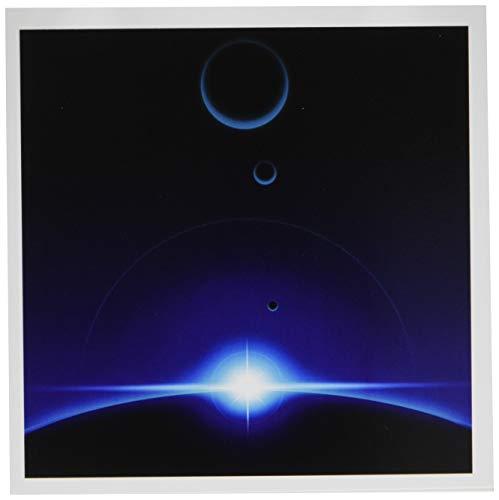 3drose Solar Szene zeigt die blau light of a Star Cresting den oberen Rand of a Planet in Space-Grußkarten, 6von Foto, Set 12(GC 19255_ 2) -