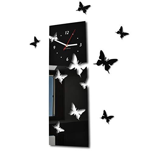 Horloge murale Salon moderne papillon Vertical noir déco Silencieux 20 x 60 cm