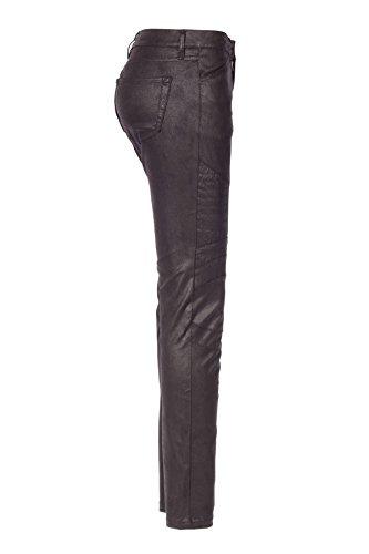bloom Damen Hose in Lederoptik, Schwarz Schwarz