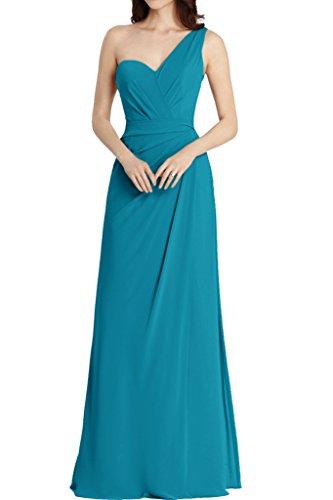 La_Marie Braut Hell Blau Einfach Ein-schulter Chiffon Abendkleider Brautjungfernkleider Partykleider A-linie Lang Blau