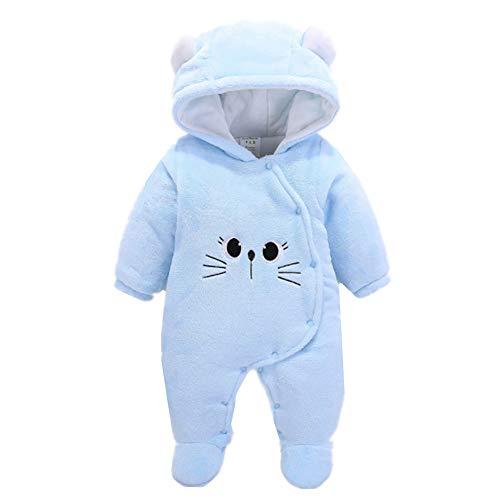 Kigurumi Baby Strampelanzug mit Füssen, Mütze für Jungen und Mädchen, mit Kapuze, für 0-12 Monate, Halloween, Cosplay-Kostüm, Blaue Katze, 9 m