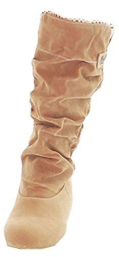 Minetom Donna Autunno Inverno Elegante Casuale Piatta Scarpe Stivali Slouchy Stivali Da Neve Lunghi Stivali Giallo EU 40