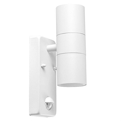 Applique Murale Moderne. IP44 pour Extérieure avec Détecteur de Mouvements Infrarouge. Design Contemporain en Blanc avec éclairage vers la haute et la basse.