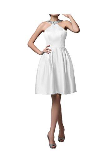 Sunvary Knielang Damen Satin Traeger Steine Paillatte Cocktailkleid Festkleid Weiß