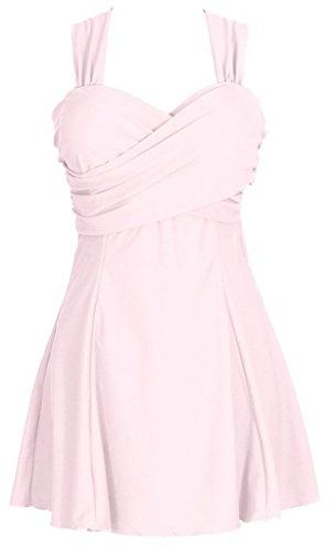 wantdo-damen-swimmanzug-einfarbiger-bandeau-badeanzug-mit-rockchen-rosa-eu-36-38