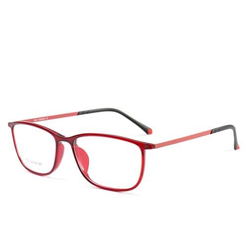 Sakuldes Brillengestell aus Silikon, leicht, modisch, ohne verschreibungspflichtige Brille für Damen und Herren rot