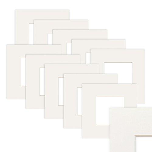 PHOTOLINI 10x Passepartout Weiß 15x15 cm (10x10 cm)