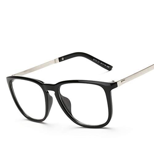 Shiduoli Quadratische Flache Brille Student Brille Gesichter Männer Brille Rahmen Männer Mode Brille (Color : Black)