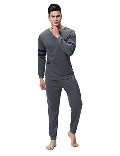 Aibrou Mens Cotton Pajamas Mens Loungewear Set Cotton Sleepwear Set Full Length Gents New Styles For All Seasons