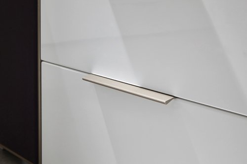 5-tlg Wohnwand in Hochglanz weiß/grau mit Akustik-Fächern, Gesamtmaß B/H/T ca. 284/180/51 cm - 5