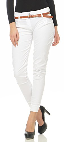 Malito Damen Chino Hose inkl. Gürtel | Stoffhose mit Stretch | lässige Freizeithose | Skinny - elegant 5396 (weiß, L)