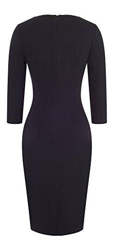 HOMEYEE Damen elegante V-Ausschnitt 3/4 Hülsen Farben Patchwork Geschäfts Kleid Abnutzung zur Arbeit B421 Blau