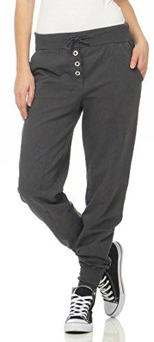Malito Damen Jogginghose im Classic Look | Sporthose in Unifarben | Baggy zum Tanzen | Sweatpants - Trainingshose 8021 (dunkelgrau)