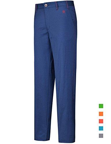 Lesmart Golfhosen Herren Lang Stretch Chinohose Golf Pants Straight Leg Größe 34W/32L Taille 86cm Marine blau M Logo