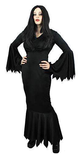 Gomez Addams Family Morticia Kostüm Und - ILOVEFANCYDRESS SCHWARZES GOTHIC KLEID KOSTÜM VERKLEIDUNG=HALLOWEEN KARNEVAL FASCHING=VAMPIRE HEXE EINFACH KLASSE =SMALL