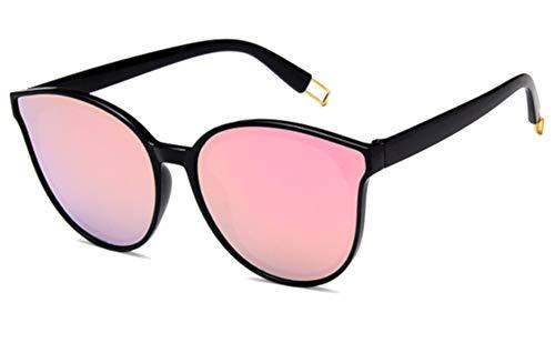 CHICNET Damen Herren Sonnenbrille Korea Stil Trend Brille Halbrahmen Form, 400 UV, verspiegelt, bunte Farben pink