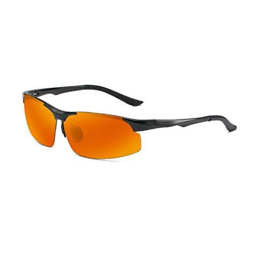 Jinxiaobei Herren Sonnenbrillen Sport-Sonnenbrille mit farbigen Gläsern Halbrandlose Herren-Sonnenbrille mit farbigen Gläsern (Color : Orange)