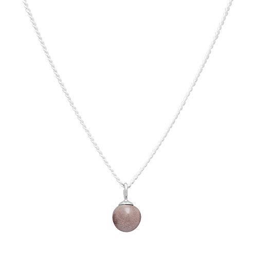 Louise Kragh Damen Halskette Silber Minipearl (Desert Sand): Mit rundem Perlen Anhänger fein und schmückend 925 Silber hochglänzend - NMIN0102SANs