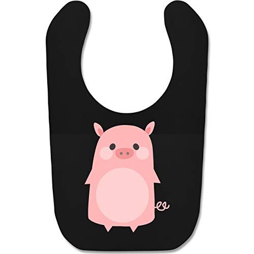 Kostüm Babys Schweinchen - Shirtracer Karneval und Fasching Baby - Fasching Kostüm Schweinchen - Unisize - Schwarz - BZ12 - Baby Lätzchen Baumwolle