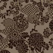 Papier Peint Motif Geisha Papillons Orientaux Chocolat Marron - Flock 99031