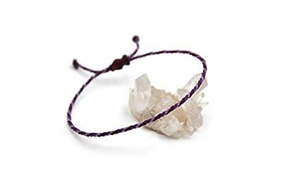 Bracelet Violet Prune & Lila/Lavande Corde Simple | Fin Cordon Souple de 2 mm | Tressé Avec Du Fil Ciré | Ajustable Unisexe et Résistant à l' Eau | Réf.#Tri3